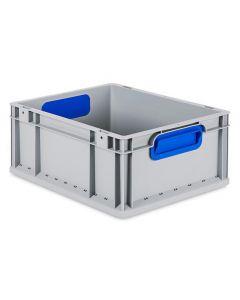 Eurobehälter grau, Griffmulde geschlossen B400 x T300 x H170 mm-blau