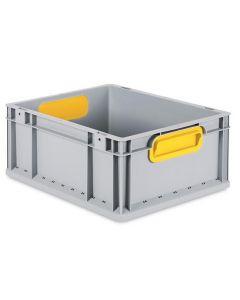 Eurobehälter grau, Griffmulde geschlossen B400 x T300 x H170 mm-gelb