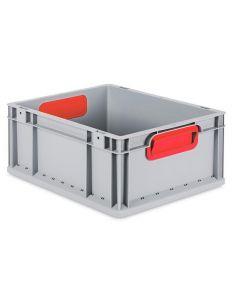 Eurobehälter grau, Griffmulde geschlossen B400 x T300 x H170 mm-rot