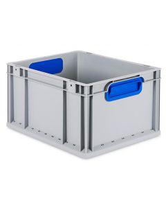 Eurobehälter grau, Griffmulde geschlossen B400 x T300 x H220 mm-blau