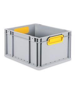 Eurobehälter grau, Griffmulde geschlossen B400 x T300 x H220 mm-gelb