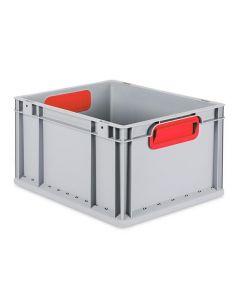 Eurobehälter grau, Griffmulde geschlossen B400 x T300 x H220 mm-rot