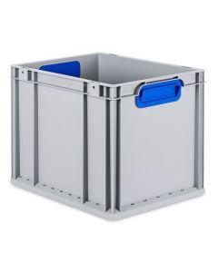 Eurobehälter grau, Griffmulde geschlossen B400 x T300 x H320 mm-blau