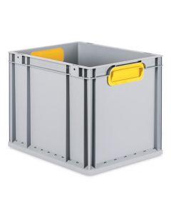 Eurobehälter grau, Griffmulde geschlossen T400 x B300 x H320 mm-gelb
