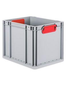 Eurobehälter grau, Griffmulde geschlossen B400 x T300 x H320 mm-rot