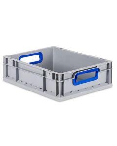 Eurobehälter grau, Griffmulde offen B400 x T300 x H120 mm-blau