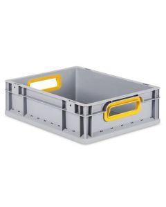 Eurobehälter grau, Griffmulde offen B400 x T300 x H120 mm-gelb