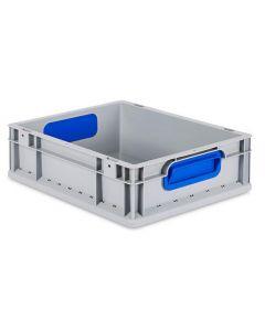 Eurobehälter grau, Griffmulde geschlossen B400 x T300 x H120 mm-blau