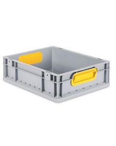 Eurobehälter grau, Griffmulde geschlossen B400 x T300 x H120 mm-gelb