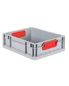 Eurobehälter grau, Griffmulde geschlossen B400 x T300 x H120 mm-rot