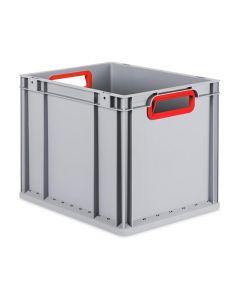 Eurobehälter grau, Griffmulde offen B400 x T300 x H320 mm-rot