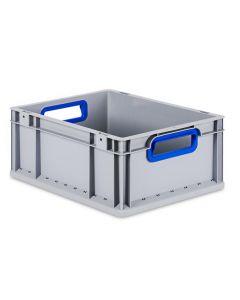 Eurobehälter grau, Griffmulde offen B600 x T400 x H170 mm-blau