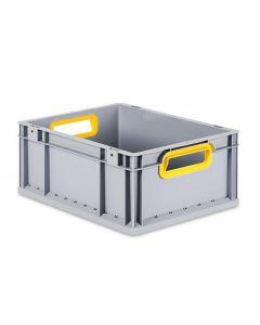 Eurobehälter grau, Griffmulde offen B600 x T400 x H170 mm-gelb