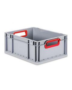 Eurobehälter grau, Griffmulde offen B600 x T400 x H170 mm-rot