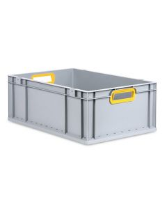 Eurobehälter grau, Griffmulde offen B600 x T400 x H220 mm-gelb