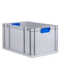 Eurobehälter grau, Griffmulde geschlossen B600 x T400 x H320 mm-blau