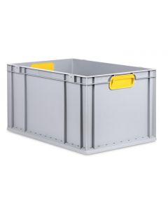 Eurobehälter grau, Griffmulde geschlossen B600 x T400 x H320 mm-gelb