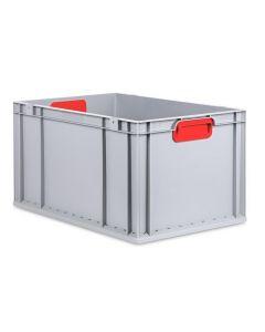 Eurobehälter grau, Griffmulde geschlossen B600 x T400 x H320 mm-rot